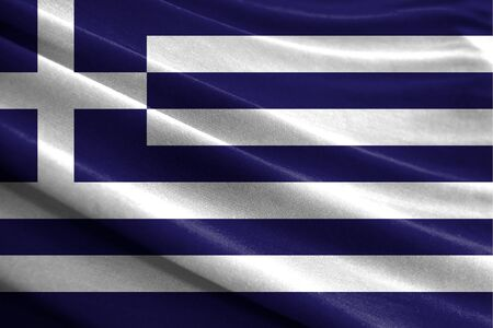 Realistic flag of Greece on the wavy surface of fabric