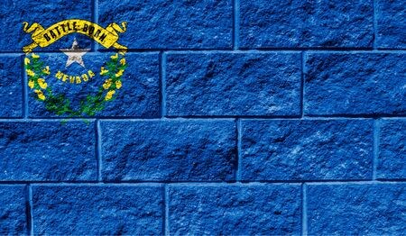 Flag State of Nevada close up painted on a cracked wall