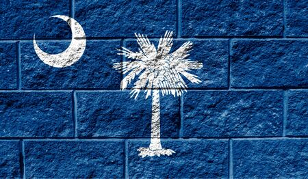 Flag State of South Carolina close up painted on a cracked wall