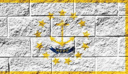 Flag State of Rhode Island and Providence Plantations close up painted on a cracked wall