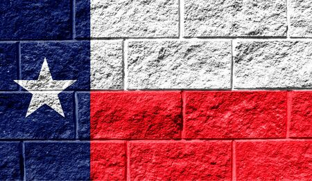 Flag State of Texas close up painted on a cracked wall Reklamní fotografie