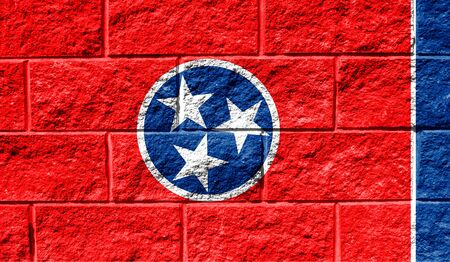 Flag State of Tennessee close up painted on a cracked wall