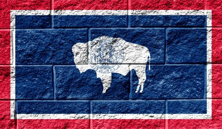 Flag State of Wyoming close up painted on a cracked wall Reklamní fotografie