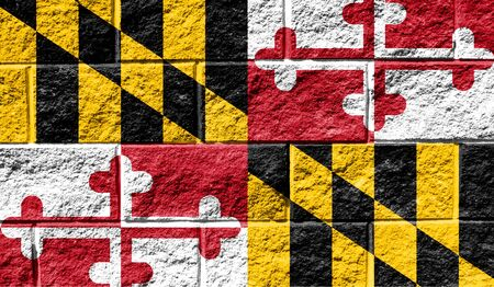 Flag State of Maryland close up painted on a cracked wall