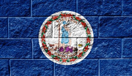 Flag State of Virginia close up painted on a cracked wall