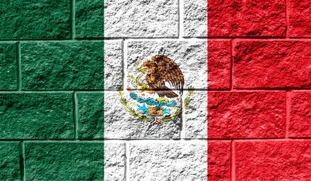 Flag of Mexico close up painted on a cracked wall