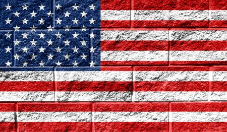 Flag of America close up painted on a cracked wall