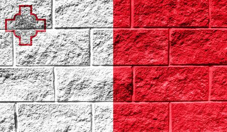 Flag of malta close up painted on a cracked wall 스톡 콘텐츠 - 128968099
