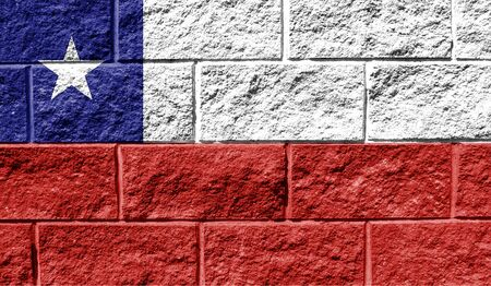 Flag of Chile close up painted on a cracked wall