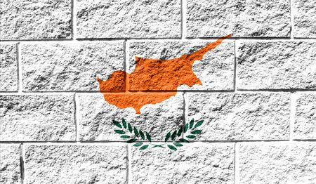 Flag of Cyprus close up painted on a cracked wall