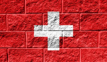 Flag of Switzerland close up painted on a cracked wall Stock fotó - 130054229