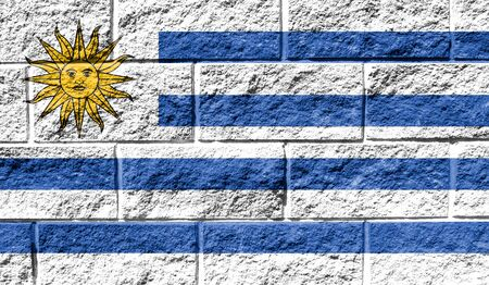 Flag of Uruguay close up painted on a cracked wall Reklamní fotografie