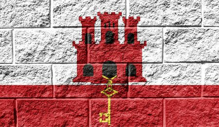 Flag of Gibraltar close up painted on a cracked wall