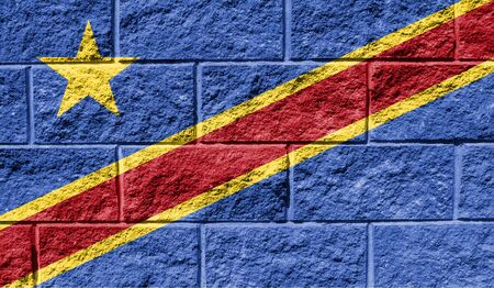 Flag of Congo Democratic close up painted on a cracked wall