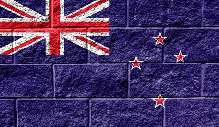 Flag of New Zealand close up painted on a cracked wall