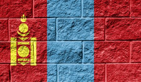 Flag of Mongolia close up painted on a cracked wall