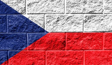 Flag of Czech Republic close up painted on a cracked wall Reklamní fotografie
