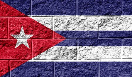 Flag of Cuba close up painted on a cracked wall