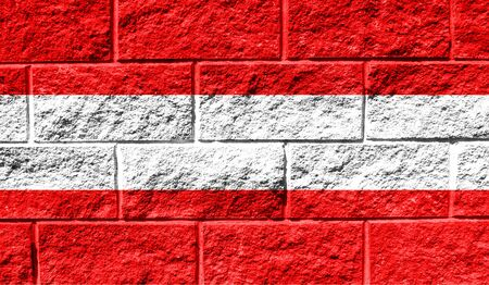 Flag of Austria close up painted on a cracked wall Stock fotó - 130054224