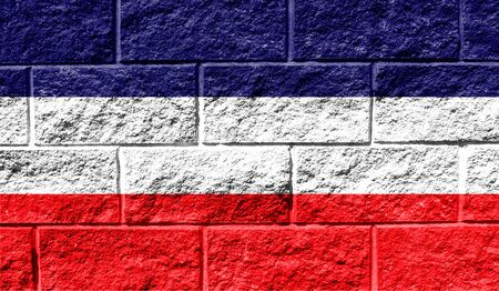 Flag of Los Altos close up painted on a cracked wall Stock Photo