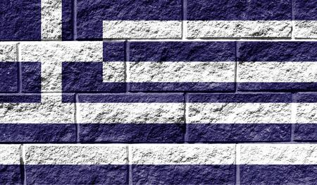 Flag of Greece close up painted on a cracked wall Stok Fotoğraf - 131949396