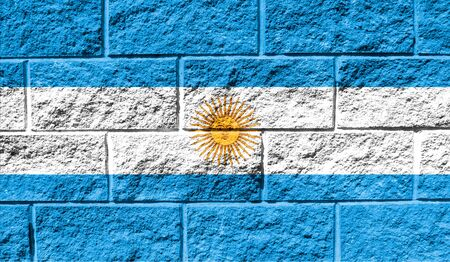 Flag of Argentina close up painted on a cracked wall