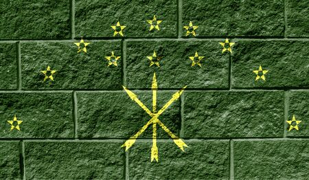Flag of Adygea close up painted on a cracked wall