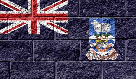 Flag of Falkland Islands close up painted on a cracked wall