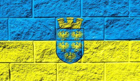 Flag of Lower Austria close up painted on a cracked wall