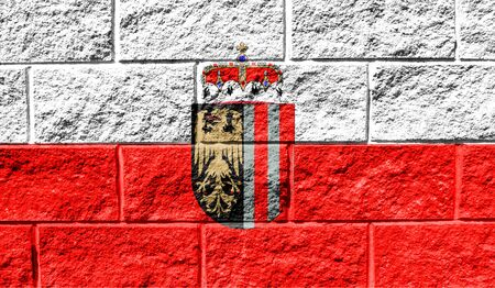 Flag of Upper Austria close up painted on a cracked wall