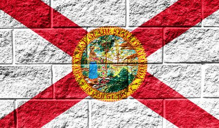 Flag State of Florida close up painted on a cracked wall