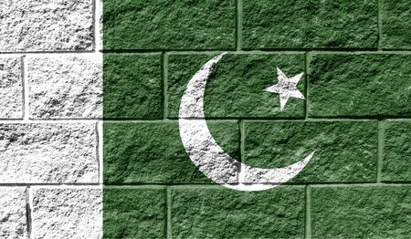 Flag of Pakistan close up painted on a cracked wall