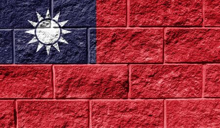 Flag of Taiwan close up painted on a cracked wall