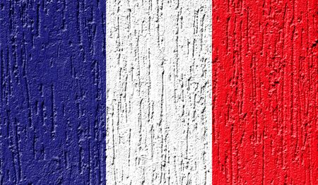 Flag of France close up painted on a cracked wall Stock Photo