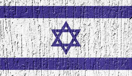 Flag of Israel close up painted on a cracked wall Stock Photo