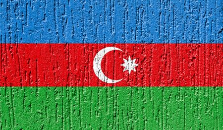 Flag of Azerbaijan close up painted on a cracked wall