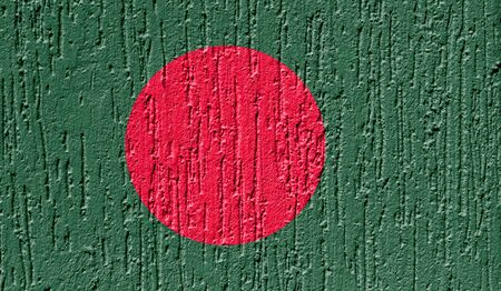 Flag of Bangladesh close up painted on a cracked wall