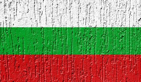 Flag of Bulgaria close up painted on a cracked wall