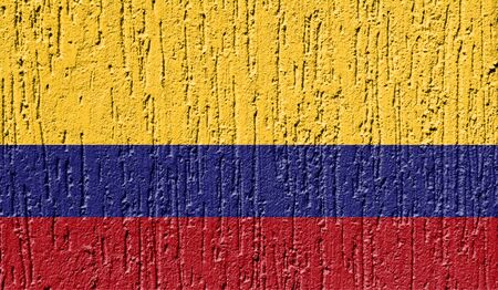 Flag of Colombia close up painted on a cracked wall Stock Photo