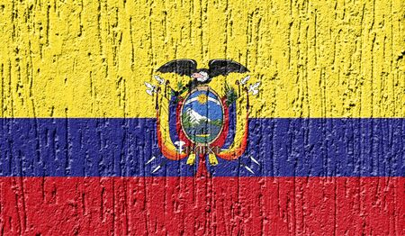 Flag of Ecuador close up painted on a cracked wall