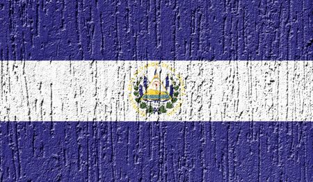 Flag of El Salvador close up painted on a cracked wall