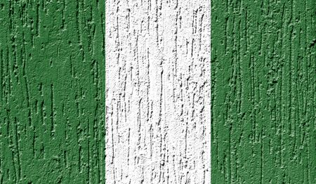 Flag of Nigeria close up painted on a cracked wall