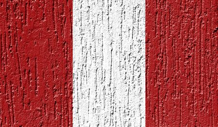 Flag of Peru close up painted on a cracked wall