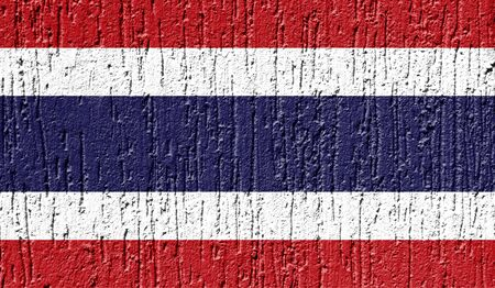 Flag of Thailand close up painted on a cracked wall