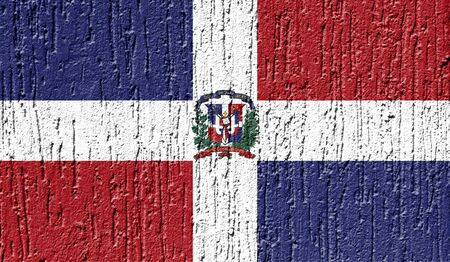 Flag of Dominican Republic close up painted on a cracked wall
