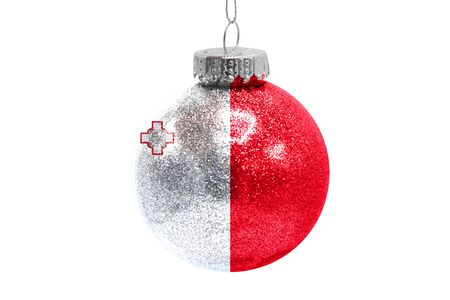 Glass Christmas ball toy isolated on white background with the flag of malta 스톡 콘텐츠