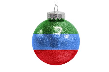 Glass Christmas ball toy isolated on white background with the flag of Dagestan