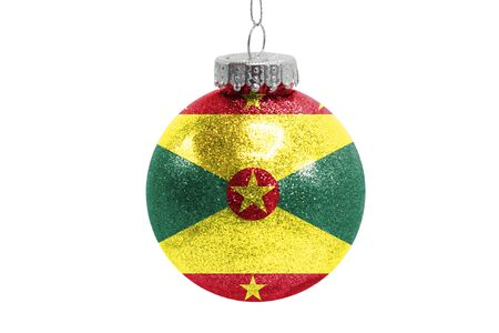 Glass Christmas ball toy isolated on white background with the flag of Grenada