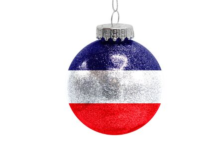 Glass Christmas ball toy isolated on white background with the flag of Los Altos