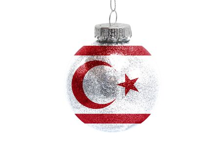Glass Christmas ball toy isolated on white background with the flag of Turkish Republic of Northern Cyprus